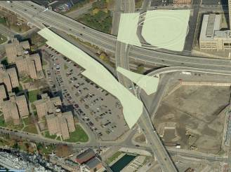 The areas currently impacted by Skyway ramps that would be opened to development if the road was removed.