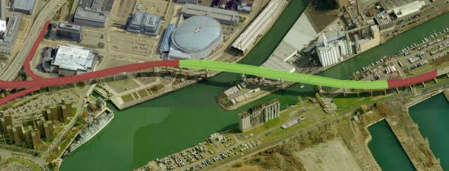 The green area would remain as the Skyway Park while the red sections would be removed to free up development.