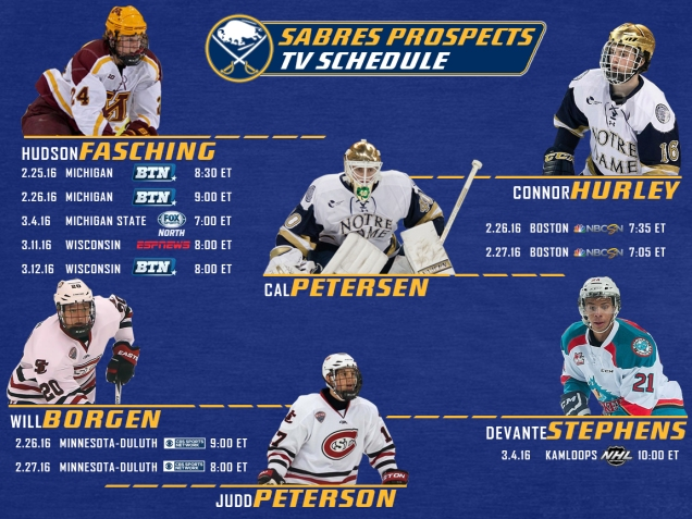Sabres prospects TV schedule