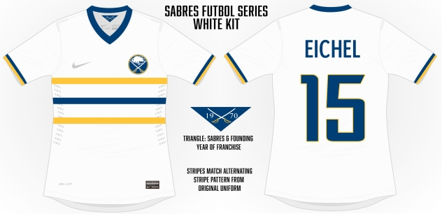 Sabres White with alternating stripes similar to the original uniforms from 1970.